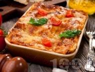 Лазаня с пилешко месо, домати и сос Бешамел